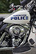 Stanley Park. Vancouver Police Harley-Davidson motor bike.