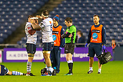 Shane Lewis-Hughes (#6) of Cardiff Blues tapes up his team mate Josh Turnbull (#8) of Cardiff Blues during the Guinness Pro 14 2019_20 match between Edinburgh Rugby and Cardiff Blues at BT Murrayfield Stadium, Edinburgh, Scotland on 28 February 2020.