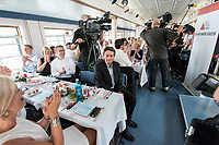 04 JUN 2019, BERLIN/GERMANY:<br /> Rolf Muetzenich (R), SPD, kom. Fraktionsvorsitzender der SPD-Bundestagsfraktion, vor Beginn der Spargelfahrt des Seeheimer Kreises der SPD, Anleger Wannsee<br /> IMAGE: 20190604-01-186<br /> KEYWORDS: Rolf Mützenich