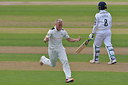 Luke Wood celebrates the wicket of Liam Dawson during the Specsavers County Champ Div 1 match between Nottinghamshire County Cricket Club and Hampshire County Cricket Club at Trent Bridge, West Bridgford, United Kingdom on 13 August 2016. Photo by Simon Trafford.