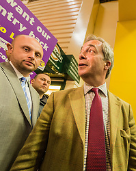 UKIP leader Nigel Farage visits Leeds on the Brexit Battle bus campaign tour encouraging voters to leave the EU in the forthcoming referendum of 23rd June<br /> <br /> (c) John Baguley | Edinburgh Elite media