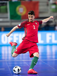 Andre Coelho of Portugal during futsal match between National teams of Ukraine and Portugal at Day 6 of UEFA Futsal EURO 2018, on February 4, 2018 in Arena Stozice, Ljubljana, Slovenia. Photo by Urban Urbanc / Sportida