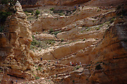 The South Kaibab Trail in the Grand Canyon is a series of steep switchbacks leading to the bottom of the Canyon.
