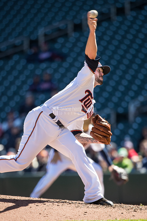 MINNEAPOLIS, MN- APRIL 6: Ryan Pressly #57 of the Minnesota Twins pitches against the Kansas City Royals on April 6, 2017 at Target Field in Minneapolis, Minnesota. The Twins defeated the Royals 5-3. (Photo by Brace Hemmelgarn) *** Local Caption *** Ryan Pressly