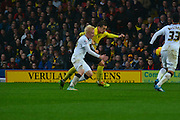 Will Hughes in Early Action during the Sky Bet Championship match between Watford and Derby County at Vicarage Road, Watford, England on 22 November 2014.