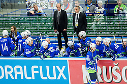 Nik Zupancic, assistant coach Slovenia and Matjaz Kopitar, head coach Slovenia during Ice Hockey match between Finland and Slovenia at Day 7 in Group B of 2015 IIHF World Championship, on May 7, 2015 in CEZ Arena, Ostrava, Czech Republic. Photo by Vid Ponikvar / Sportida
