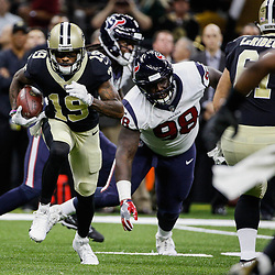 Aug 26, 2017; New Orleans, LA, USA; New Orleans Saints wide receiver Ted Ginn Jr. (19) runs past Houston Texans defensive tackle D.J. Reader (98) during the first quarter of a preseason game at the Mercedes-Benz Superdome. Mandatory Credit: Derick E. Hingle-USA TODAY Sports