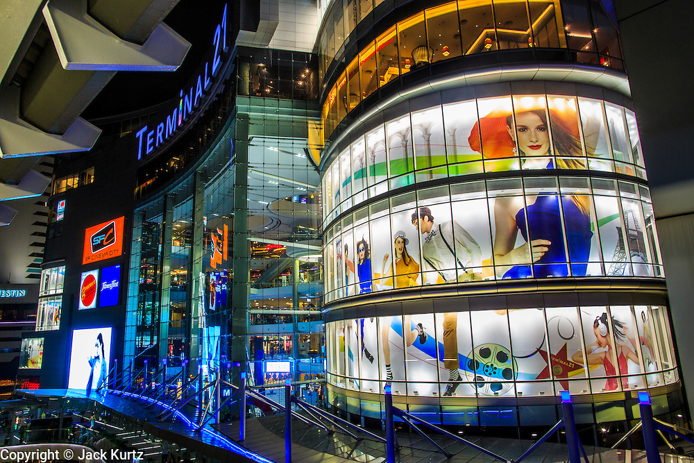 15 OCTOBER 2012 - BANGKOK, THAILAND:  Terminal 21 is one of Bangkok's newest high end shopping malls. It is at the intersection of Sukhumvit and Asoke, one the busiest in Bangkok. It is served by both the BTS Skytrain and MRT subway. The mall opened less than one year ago and comes into an already crowded retail environment. It's less than a half mile from the Emporium, another upscale mall and less than two miles from the Siam Paragon, Gaysorn, MBK complex of malls, one of the largest concentrations of shopping and retail in the world. With a population of about 12 million, Bangkok is one of the fastest growing cities in the world.    PHOTO BY JACK KURTZ