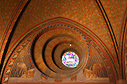 detailed dome; lamb stained glass window; interior Matthias Church; Matyas Templom; Castle Hill:; Varhegy; Budapest; Hungary