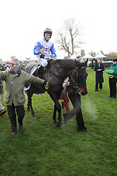 Jockey DARYL JACOB riding Diamond Harry the winner of the 2010 Hennessy Gold Cup  at the Hennessy Gold Cup 2010 at Newbury Racecourse, Berkshire on 27th November 2010.