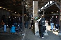 09 APR 2012, KRAKOW/POLAND:<br /> Besucher in einer restaurierten Holz-Barake, Staatliches polnisches Museum / Gedenkstaette des ehem. Konzentrationslager Ausschitz-Birkenau<br /> IMAGE: 20120409-01-053<br /> KEYWORDS: Krakau, KZ, Vernichtungslagers Auschwitz II–Birkenau, Polen