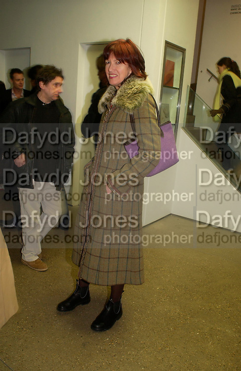 Janet Street-Porter. Chemical Life Support opening, White Cube. 3 March 2005. ONE TIME USE ONLY - DO NOT ARCHIVE  © Copyright Photograph by Dafydd Jones 66 Stockwell Park Rd. London SW9 0DA Tel 020 7733 0108 www.dafjones.com