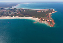 Aerial view of Roebuck Bay and Broome showing Broome Port and Cable Beach