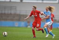 MANCHESTER, ENGLAND - Sunday, August 30, 2015: Liverpool's Hannah Dale and Manchester City's Keira Walsh during the League Cup Group 2 match at the Academy Stadium. (Pic by Paul Currie/Propaganda)