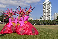 April 28, 2018 - National Capital Region, Philippines - Different cultural festivals from different regions of the Philippines gather at this annual event to compete for the best festival dance and custome display. This event has also been called ''The Metro manila of All Fiestas'' where people can gather to watch the parade of festivals without travelling to different parts of the country. This event was organized by Manila Broadcasting Company (MBC) with the Cultural Center of the Philippines (CCP) since 2003 which aims to showcase and promote the different Filipino cultures and heritage from different regions of the country. The event is always held at the end of April or early May...Behind the scenes, participants practice and gather are an open field just in front of Quirino Grandstand before the main event. (Credit Image: © George Buid via ZUMA Wire)