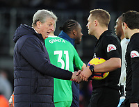 Football - 2018 / 2019 Premier League - Crystal Palace vs. West Ham United<br /> <br /> Crystal Palace Manager, Roy Hodgson has words with Referee Craig Pawson after the match, at Selhurst Park.<br /> <br /> COLORSPORT/ANDREW COWIE