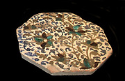 Octagonal tile with coloured glaze, Islamic art, Syrian. Early 20th century