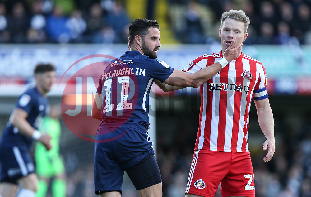 Stephen McLaughlin of Southend United and Grant Leadbitter of Sunderland exchange pleasantries - Mandatory by-line: Arron Gent/JMP - 04/05/2019 - FOOTBALL - Roots Hall - Southend-on-Sea, England - Southend United v Sunderland - Sky Bet League One