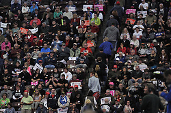 People are seen leaving before the end of the rally of Republican presidential candidate Donald Trump at the Giant Center in Hershey, in Central Pennsylvania, on Fri. Nov. 4, 2016.