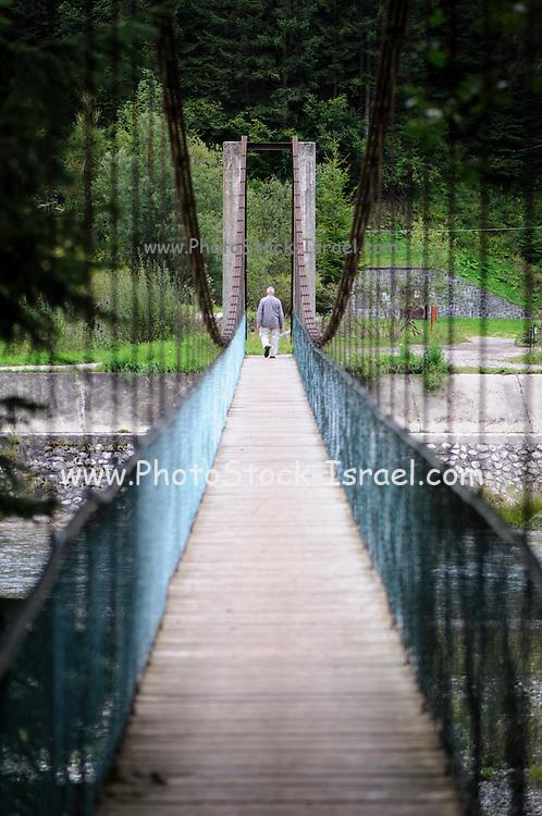 Italy, Dolomites, suspension bridge