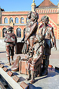 Frank Meisler's Kindertransport memorial statue in front of the Gdansk Railway station