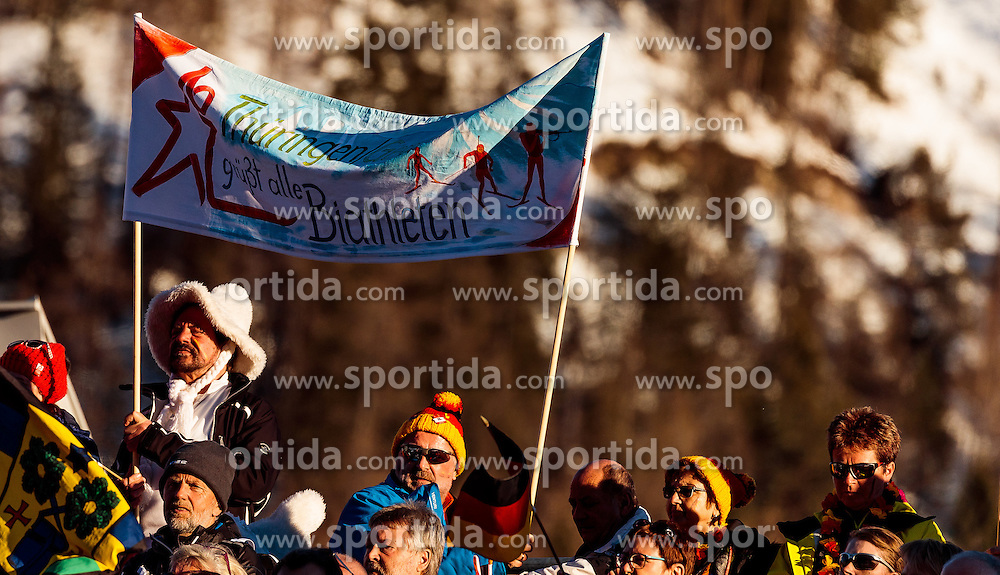 15.02.2017, Biathlonarena, Hochfilzen, AUT, IBU Weltmeisterschaften Biathlon, Hochfilzen 2017, Damen, Einzel, im Bild Fans mit Fahnen // Spectators with Flags during individual women the IBU Biathlon World Championship at the at the Biathlonarena in Hochfilzen, Austria on 2017/02/15. EXPA Pictures © 2017, PhotoCredit: EXPA/ JFK
