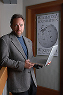 Wikipedia founder Jimmy Wales stands outside his office in St. Petersburg, Florida.