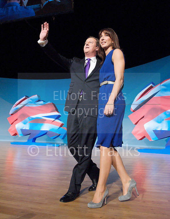 Conservative Party Conference, ICC, Birmingham, Great Britain <br /> 10th October 2012 <br />  Day 4<br /> <br /> Rt Hon David Cameron MP <br /> Prime minister <br /> with his wife Samantha Cameron after his leaders' speech <br /> <br /> <br /> <br /> Photograph by Elliott Franks<br /> <br /> United Kingdom<br /> Tel 07802 537 220 <br /> elliott@elliottfranks.com<br /> <br /> &copy;2012 Elliott Franks<br /> Agency space rates apply