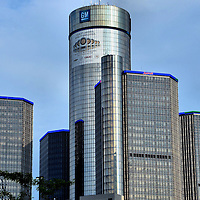 Renaissance Center and General Motors Headquarters in Detroit, Michigan<br />