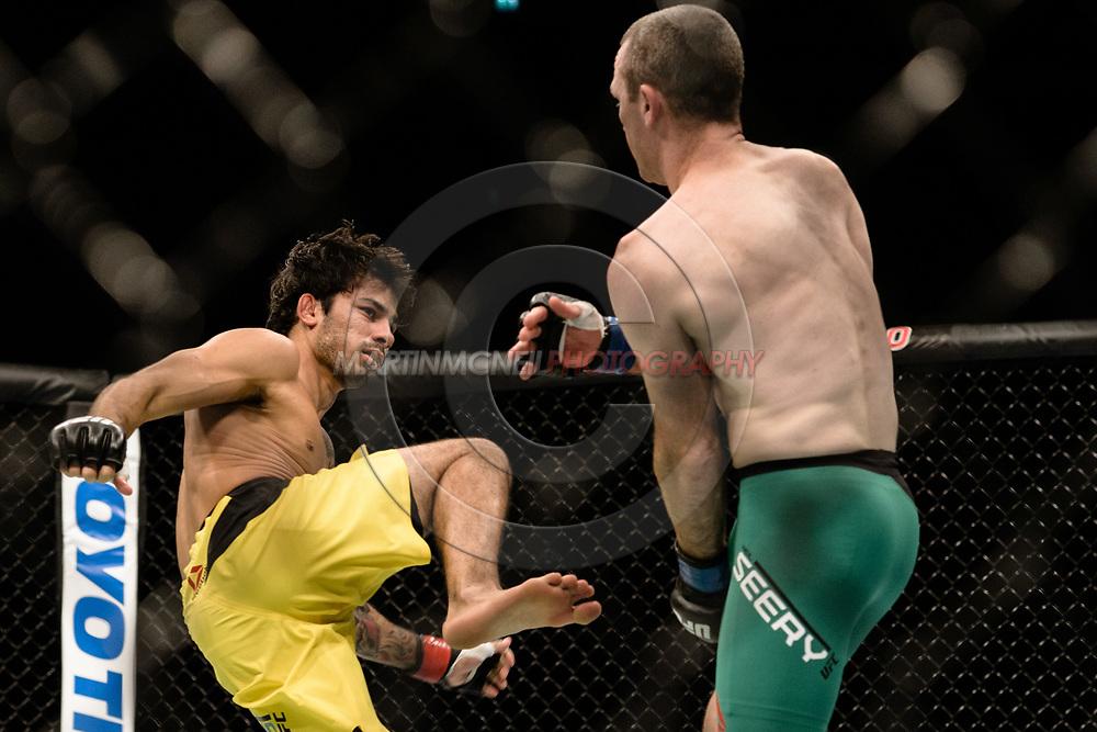 "GLASGOW, UNITED KINGDOM, JULY 16, 2017: Alexandre Pantoja (yellow shorts) versus Neil Seery (green trunks) during ""UFC Fight Night Glasgow: Nelson vs. Ponzinibbio"" inside the SSE Hydro Arena in Glasgow, Scotland on Sunday, July 16, 2017."