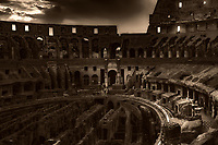 """Twilight falls on the Roman Coliseum illuminating the Holy Cross""...<br />