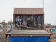 Laundry at the top of a Tube House, Long Bien, Hanoi, Vietnam