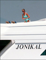 File photo of Lady Diana, Princess of Wales, with boyfriend Dodi Al Fayed spending their summer holiday in Saint-Tropez, south of France, on August 22, 1997. Princess Diana died on August 31, 1997 after suffering fatal injuries in a car crash in the Pont de l'Alma road tunnel in Paris. Her companion Dodi Fayed and driver and security guard Henri Paul were also killed in the crash. Photo by ABACAPRESS.COM  | 594950_026 Saint-Tropez France