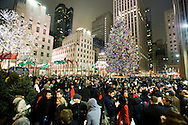 Crowds viewing the Rockefeller Center Christmas Tree in New York city on December 22, 2007