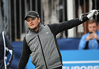 Golf - 2018 Sky Sports British Masters - Sunday, Fourth Round<br /> <br /> Eddie Pepperell of England signals wide from his tee shot, at Walton Heath Golf Club.<br /> <br /> COLORSPORT/ANDREW COWIE