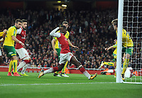 Football - 2017 / 2017 EFL (League) Cup - Fourth Round: Arsenal vs. Norwich City<br /> <br /> Eddie Nketiah of Arsenal comes on as a substitute to score with his first touch for the equalising goal at The Emirates.<br /> <br /> COLORSPORT/ANDREW COWIE