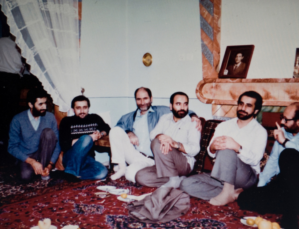 Vienna, VA - Iranian dissident Mohsen Sazegara from a family photo. He is second from the left and pictured with colleagues and deputy ministers during the war with Iraq c. 1984-85.  Next to Sazegara in the center is Behzad Nabavi, Minister of Heavy Industry, and now jailed in Iran.  Photo © Susana Raab 2009