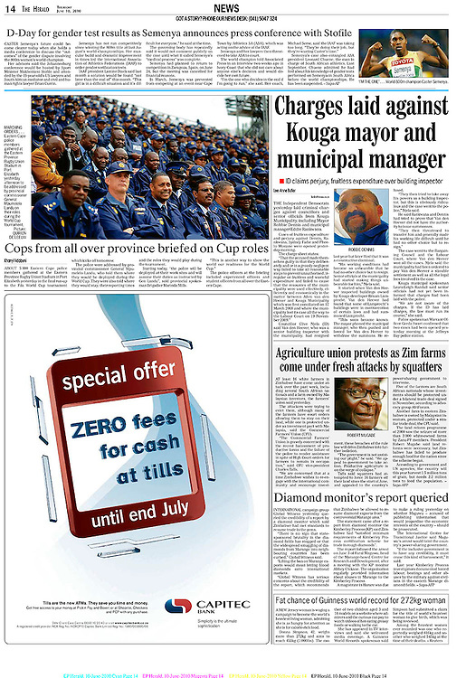 """fotografie: Quirien de Leeuw. Publicatie: TheHerald newspaper<br /> <br /> JUNE 10, 2010. Khanyi Ndabeni ABOUT 5 000 Eastern Cape police members gathered at the Eastern Province Rugby Union Stadium in Port Elizabeth yesterday in the final run-up to the Fifa World Cup tournament which kicks off tomorrow. The police were addressed by provincial commissioner General Mpumelelo Landu, who told them where they would be deployed during the World Cup. They were also told where they would stay, their reporting times and the roles they would play during the tournament. Starting today, """"the police will be deployed at their work sites and will assume their duties as instructed by Gen Landu"""", said provincial spokesman Brigadier Marinda Mills. """"This is another way to show the world our readiness for the World Cup."""" The police officers at the briefing included experienced officers and student officers from all over the Eastern Cape.<br /> <br /> text by: Khanyi Ndabeni -photography: Quirien de Leeuw<br /> <br /> source: The Herald<br /> PDF article"""