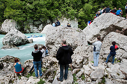 Spectators at final sprint race of European wildwater Canoeing Championships Soca 2013 on May 12, 2013 in Trnovo ob Soci, Soca river, Slovenia. (Photo By Vid Ponikvar / Sportida)