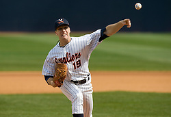 Virginia Cavaliers LHP Pat McAnaney (19) pitches against BC.  The #19 ranked Virginia Cavaliers baseball team defeated the Boston College Golden Eagles 5-4 in 10 innings at the University of Virginia's Davenport Field in Charlottesville, VA on March 22, 2008.