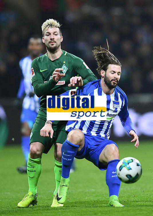 v.l. Jerome Gondorf (Bremen), Marvin Plattenhardt<br />Bremen, 27.01.2018, Fussball Bundesliga, SV Werder Bremen - Hertha BSC Berlin<br /> <br /> Norway only