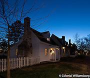 Christmas season at dusk on Francis Street, Colonial Williamsburg.