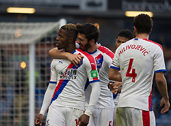 Wilfried Zaha of Crystal Palace (L) celebrates scoring his sides third goal - Mandatory by-line: Jack Phillips/JMP - 02/03/2019 - FOOTBALL - Turf Moor - Burnley, England - Burnley v Crystal Palace - English Premier League