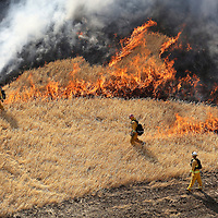 In preparation for the upcoming 2014 fire season, CAL FIRE conducts advanced live fire training on Wednesday, June 11, 2014 in Williams, California. Officials say drought conditions are causing critical fire behavior earlier in the season and this training will better help to prepare the firefighters for the current conditions.  (AP Photo/Alex Menendez)