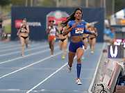 Jul 28, 2019; Des Moines, IA, USA; Erica Bougard wins the heptathlon 800m in 2:12.41 during the USATF Championships at Drake Stadium. Bougard was the overall winner with 6,663 points.