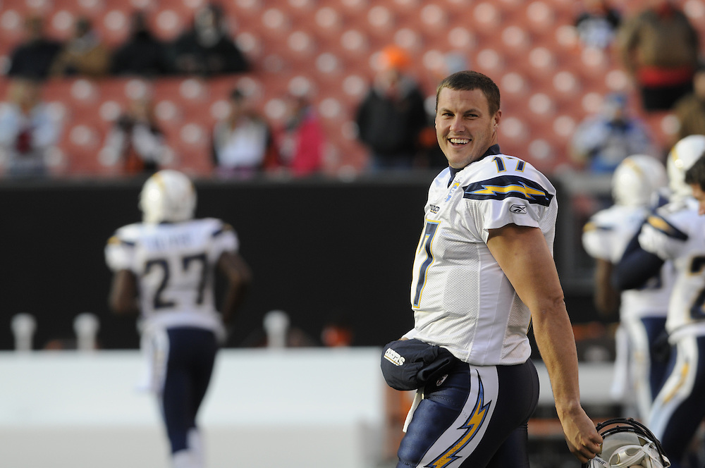 Dec 6, 2009; Cleveland, OH, USA; San Diego Chargers quarterback Philip Rivers (17) prior to the game against Cleveland Browns at Cleveland Browns Stadium. Mandatory Credit: Jason Miller-US PRESSWIRE