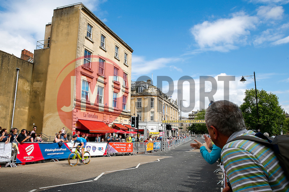Cyclists take part in the  Corporate Relay during the first ever Bristol Grand Prix, a closed circuit city centre bicycle road race - Mandatory byline: Rogan Thomson/JMP - 07966 386802 - 20/06/2015 - SPORT - Cycling - Bristol, England.