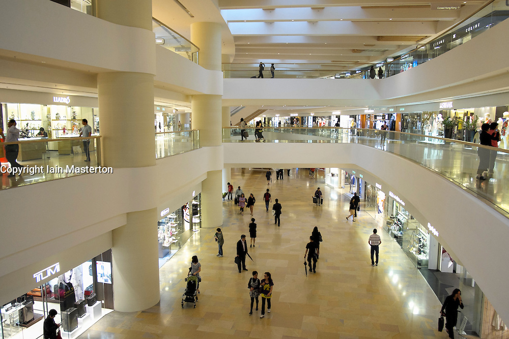 Interior of upmarket Pacific Place shopping mall in Hong Kong