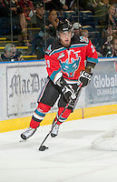 KELOWNA, CANADA - OCTOBER 10:  Myles Bell #29 of the Kelowna Rockets looks for the pass as the Spokane Chiefs visit the Kelowna Rockets on October 10, 2012 at Prospera Place in Kelowna, British Columbia, Canada (Photo by Marissa Baecker/Shoot the Breeze) *** Local Caption ***