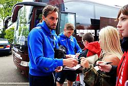 Ed Upson of Bristol Rovers signs autographs for fans outside Highbury Stadium - Mandatory by-line: Matt McNulty/JMP - 27/04/2019 - FOOTBALL - Highbury Stadium - Fleetwood, England - Fleetwood Town v Bristol Rovers - Sky Bet League One